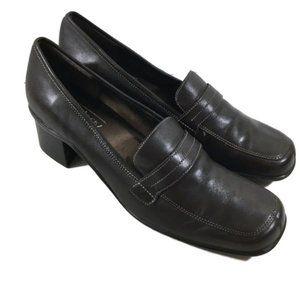 "Aerosoles ""Alexis"" Black Leather Loafers 7W"